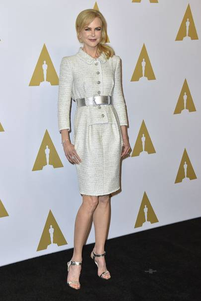 Wearing Chanel at the Academy Awards nominees luncheon, 2017