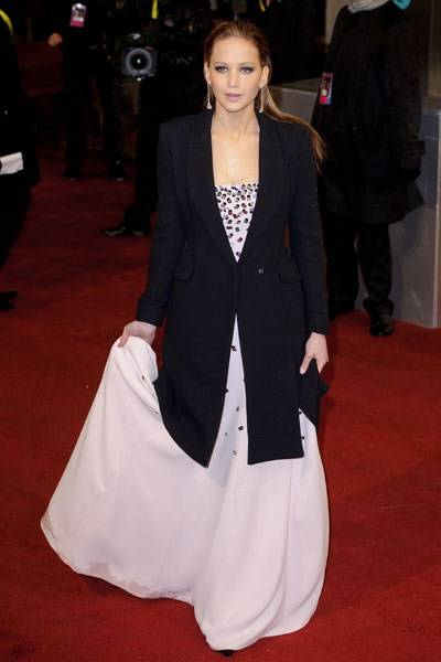 The 'You're Definitely Not British' Prize for Wearing a Coat on the Arctic Red Carpet: Jennifer Lawrence