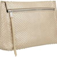William and Son Bruton Pouch in ecru snakeskin