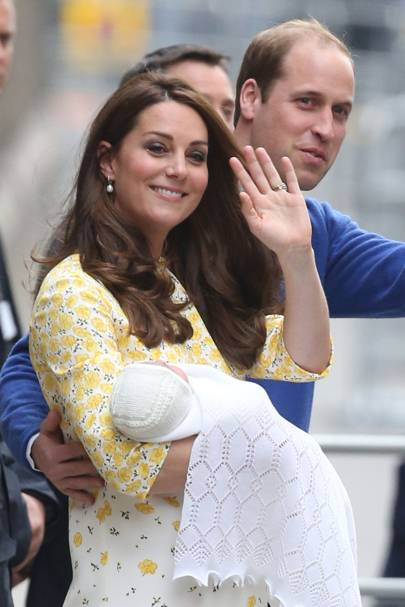 The Duchess of Cambridge and her newborn daughter