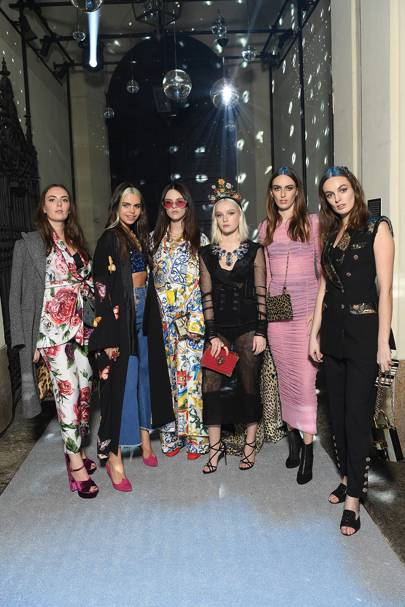 Lady Eliza Manners, Bee Beardsworth, Daisy Maybe, Maddi Waterhouse, Lady Alice Manners and Lady Violet Manners at Dolce & Gabbana A/W18