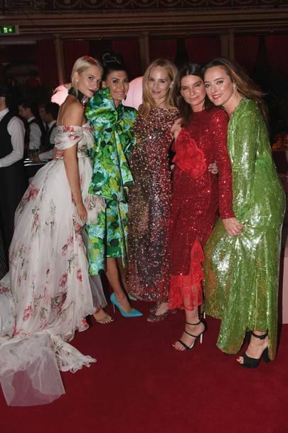 Poppy Delevingne, Giovanna Battaglia Engelbert, Lauren Santo Domingo, Dame Natalie Massenet and Alice Temperley
