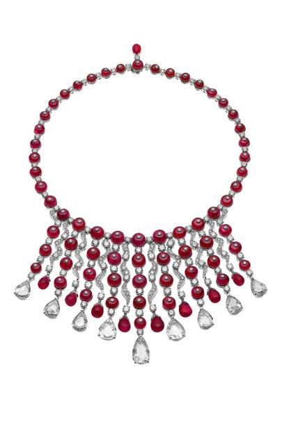 Ruby, mother of pearl and platinum necklace, POA, Bulgari