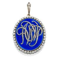 A late-18th-century enamel and diamond pendant with a central rose-cut diamond monogram