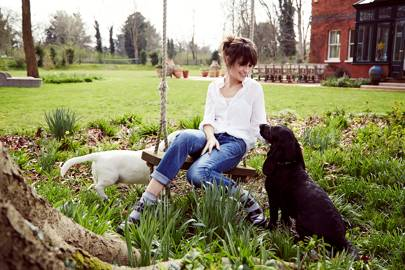 Sheherazade Goldsmith with her dogs, Lucky and Patch