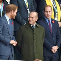 Prince Harry, Prince Philip and the Duke of Cambridge attend the Rugby World Cup Final, 2015