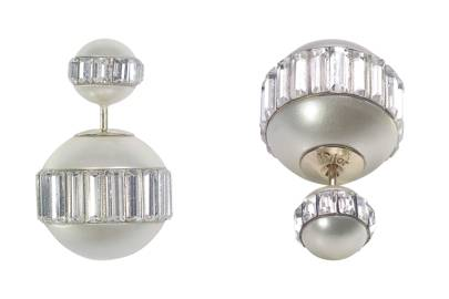 Gold, white-crystal & resin-pearl earrings, £490, by Dior