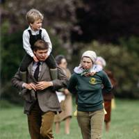 Peter Phillips with Princess Anne and Zara Phillips (and the Royal Bodyguard) in 1983