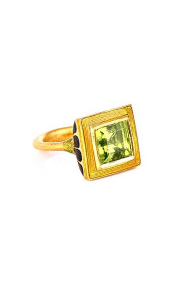 Peridot, enamel and gold ring, POA, Alice Cicolini
