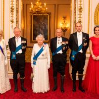 The Duchess of Cornwall, the Prince of Wales, the Queen, Prince Philip, the Duke of Cambridge and the Duchess of Cambridge, 2016