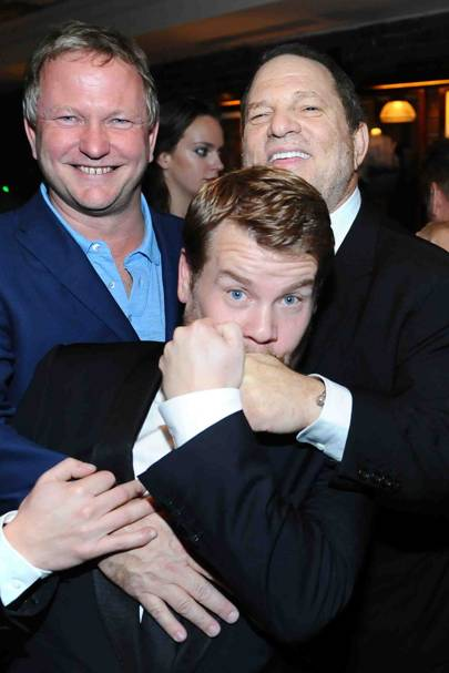 Nick Jones, James Corden and Harvey Weinstein