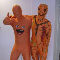 Deputy art director Lee Pears as a morph man and Features editor Sophia Money-Coutts as an evil pumpkin
