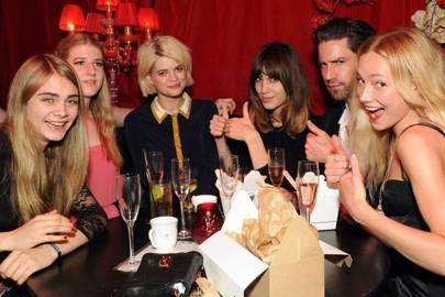 Cara Delevingne, Gillian Orr, Pixie Geldof, Alexa Chung, Jack Guinness and Clara Paget