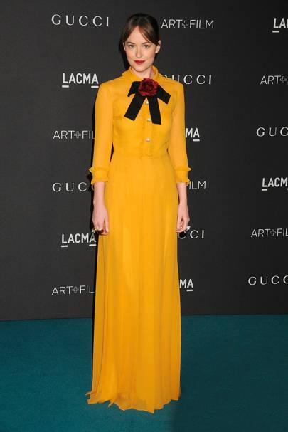 Wearing Gucci at the LACMA Gala, 2015.