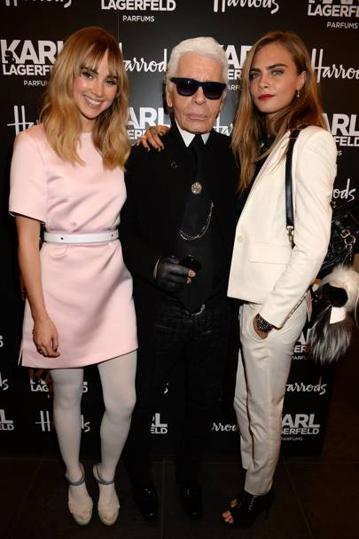 Suki Waterhouse, Karl Lagerfeld and Cara Delevingne