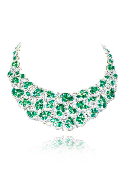 Emerald and diamond necklace, £83,500, Amrapali