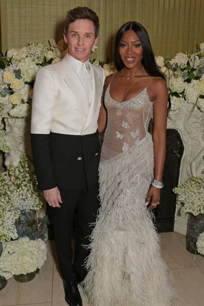 Eddie Redmayne and Naomi Campbell