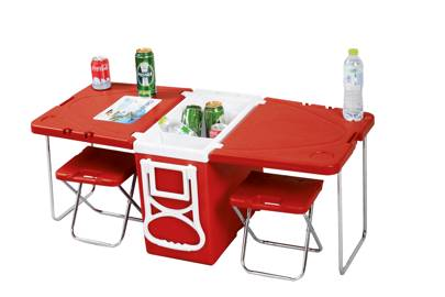 Rolling cooler/picnic table