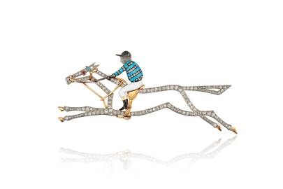 Early 20th century enamel, diamond and gem-set jockey brooch