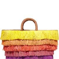 Kayu fringed straw bag