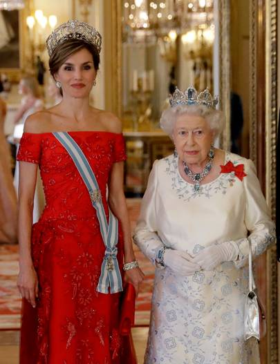 Queen Letizia of Spain with Queen Elizabeth