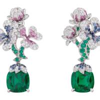 Emerald, sapphire and diamond earrings, POA, Dior