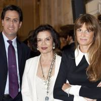 Ed Miliband, Bianca Jagger and Jemima Khan