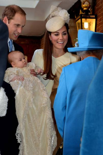 The Duke of Cambridge, The Duchess of Cambridge, Prince George and the Queen