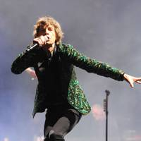 Green oak-leaf sequin jacket designed by L'Wren Scott and Jane Haywood and handmade by Owen Gaster for the Rolling Stones' 2013 headline show at Glastonbury