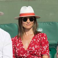 Pippa Middleton wears a print wrap Ralph Lauren dress at the 2018 French Open