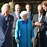 The Prince of Wales, The Queen, Philip Green, David Brownlow and Prince Harry