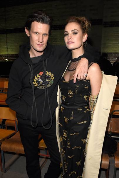Matt Smith and Lily James at Burberry A/W18