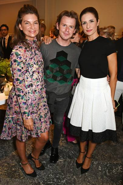 Natalie Massenet, Livia Firth and Christopher Kane